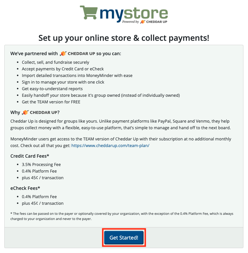 Screenshot of MyStore Setup Page