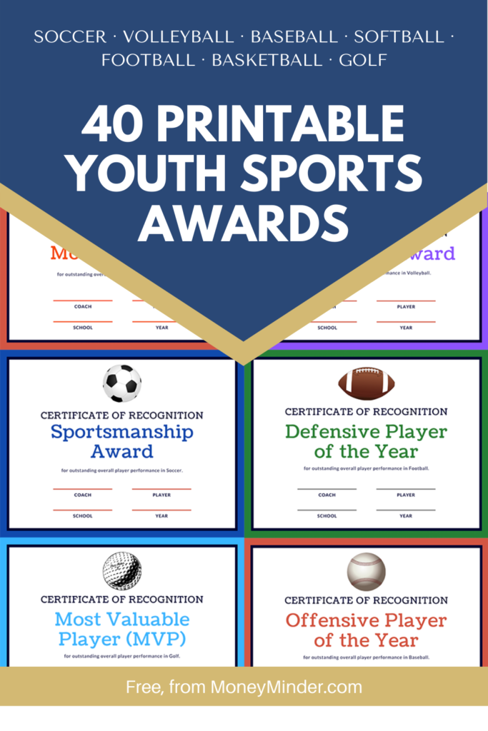 40 Printable Youth Sports Awards