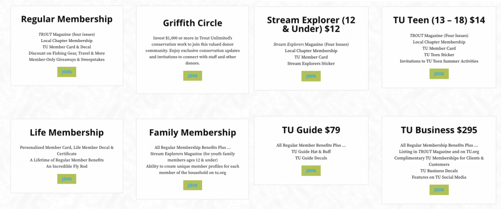 Trout Unlimited Memberships