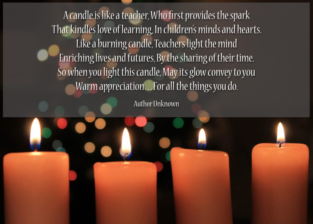 Candle Printable Holiday Poem for Teachers